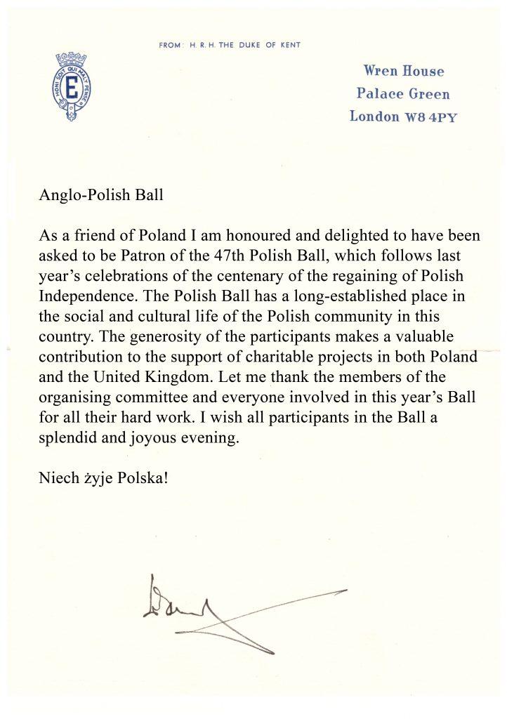 HRH Duke of Kent Letter